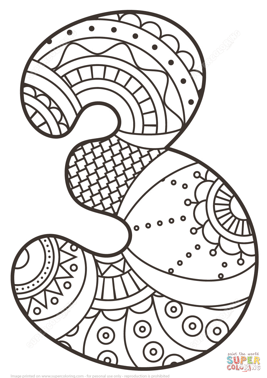 Number 3 zentangle super coloring