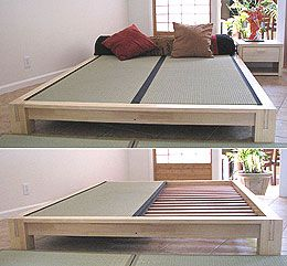 tatami platform bed frame in natural finish this japanese style platform bed is constructed. Black Bedroom Furniture Sets. Home Design Ideas