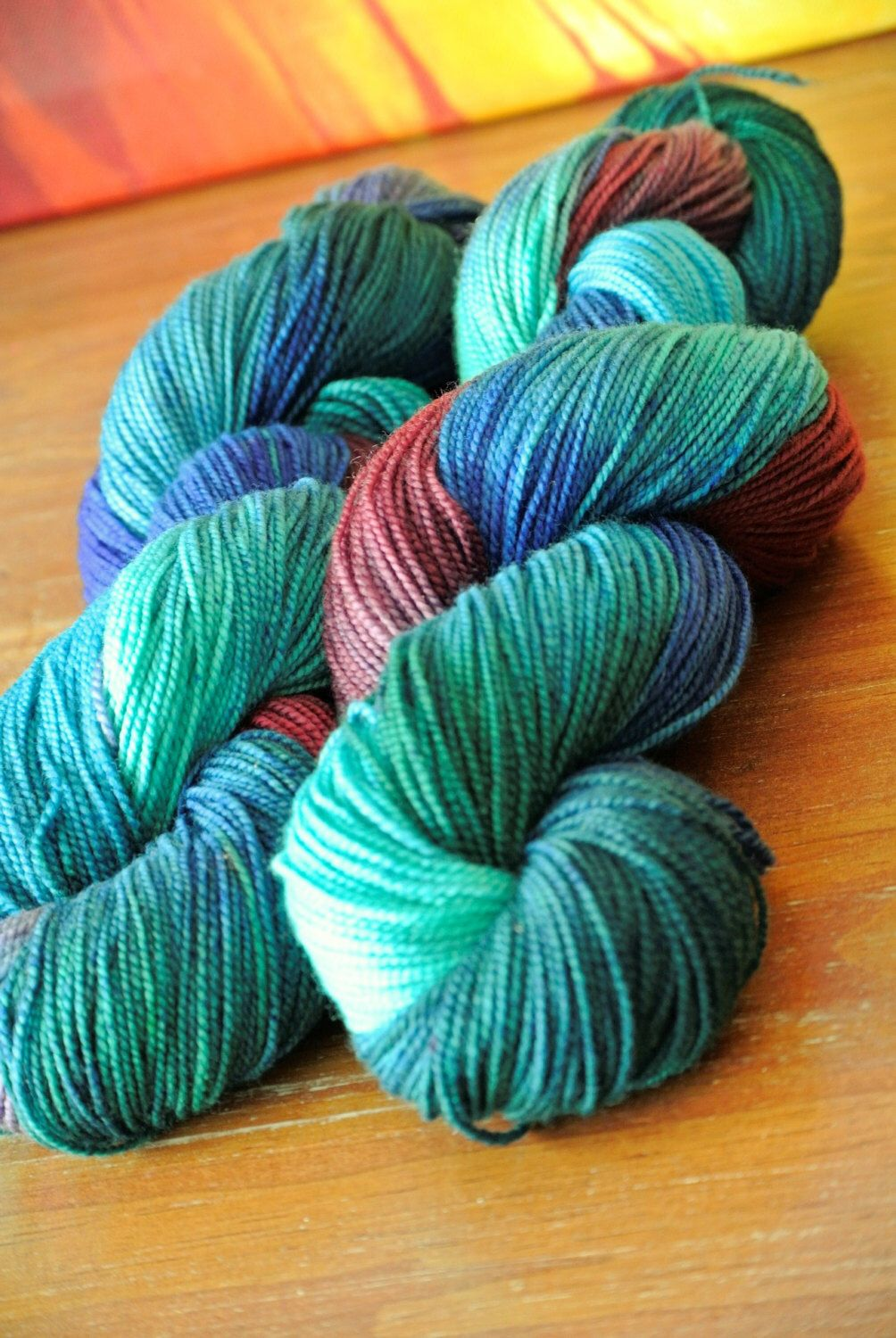 A personal favorite from my Etsy shop https://www.etsy.com/listing/399796545/maya-hand-dyed-superwash-merino-sock