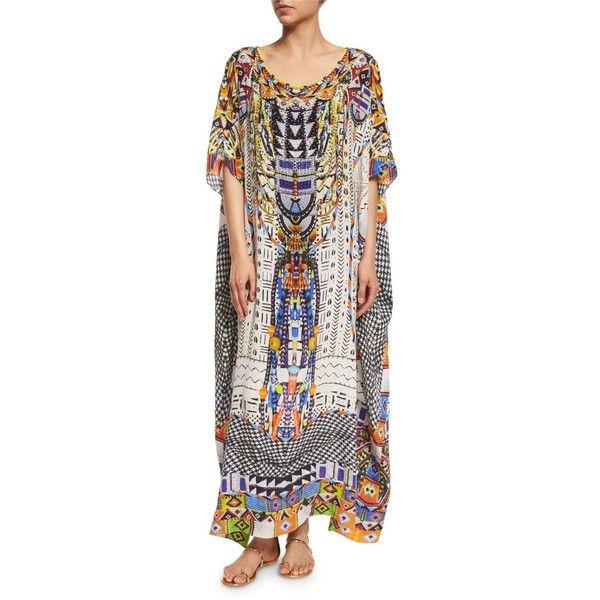 Camilla Embellished Caftan Coverup Maxi Dress (5.025 NOK) ❤ liked on Polyvore featuring dresses, singing wells, embellished maxi dress, scoop-neck dresses, kaftan dress, three quarter sleeve dress and embellished dress