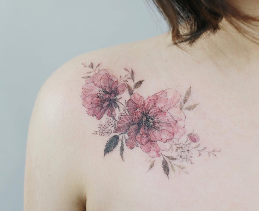 Peony Watercolor Flower Tattoos: Flower Tattoo Artist Tattooist_flower – 타투이스트