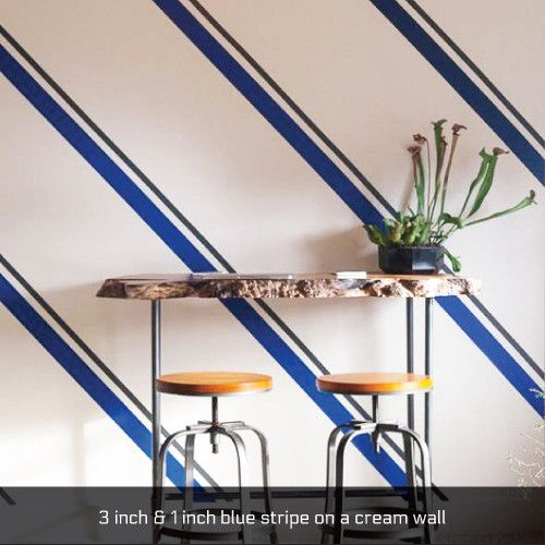 Slate Gray Diagonal Stripe Accent Wall: EasyStripe® Peel And StickWall Striping Decal Rolls