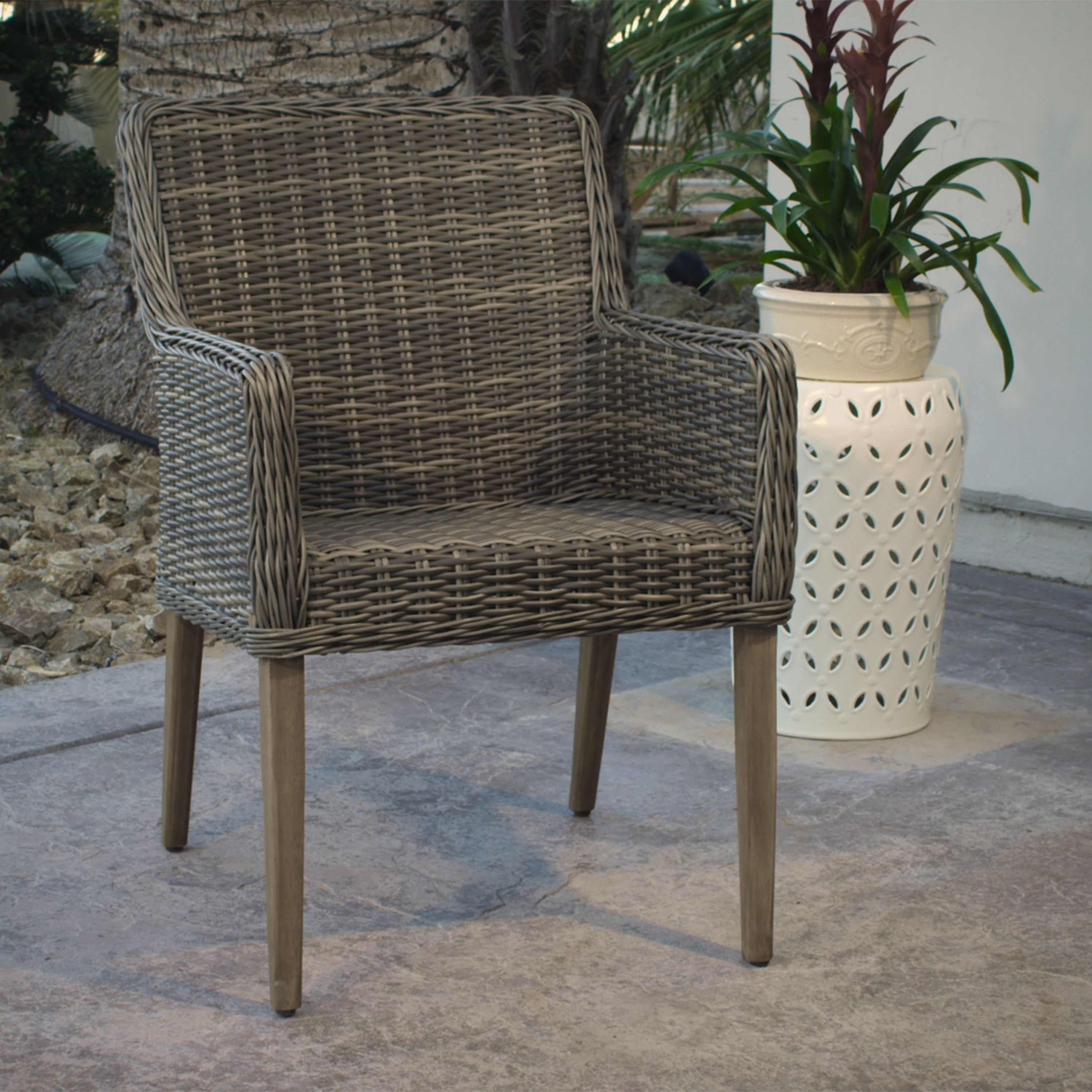 Gray all weather wicker outdoor dining chair