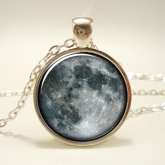 Full Moon Necklace Cosmic Space Jewelry Galaxy Pendant by rainnua, $14.45
