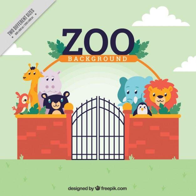 Zoo Background With Wild Animals In 2021 Wild Animals Vector Animals Wild Zoo