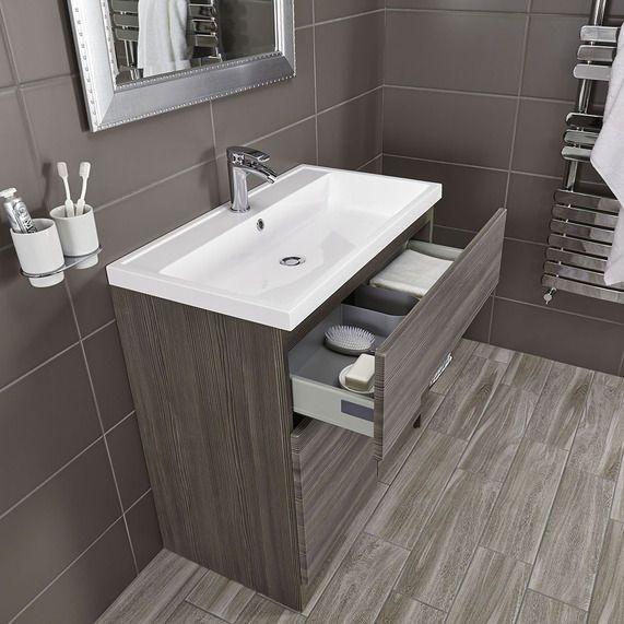 Vermont 800 Basin And Grey Avola Floor Standing Vanity Unit