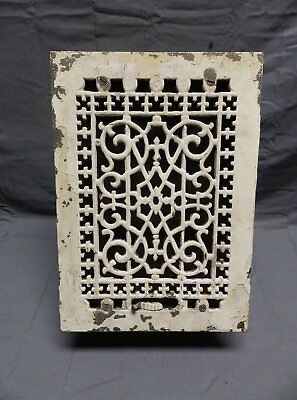 ANTIQUE METAL HEATING GRATE REGISTER VENT WALL ORNATE 11.5