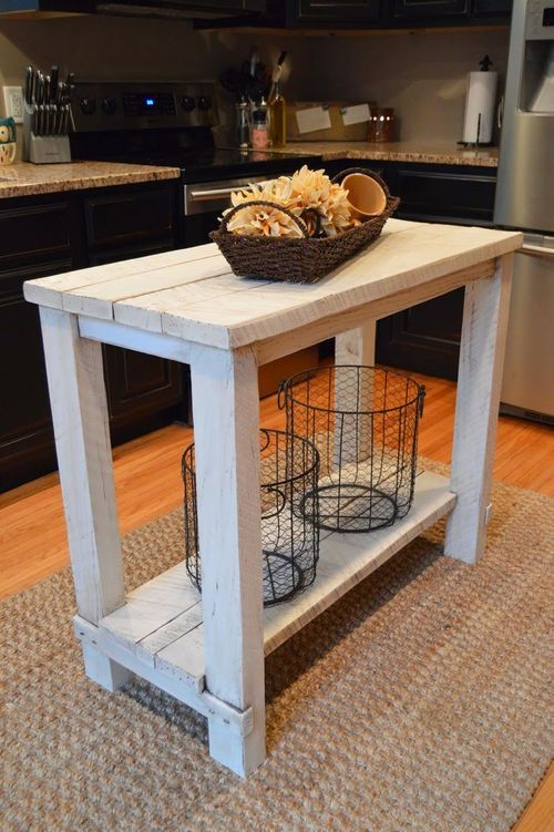 Rustic Reclaimed Wood Kitchen Island wood furniture Pinterest