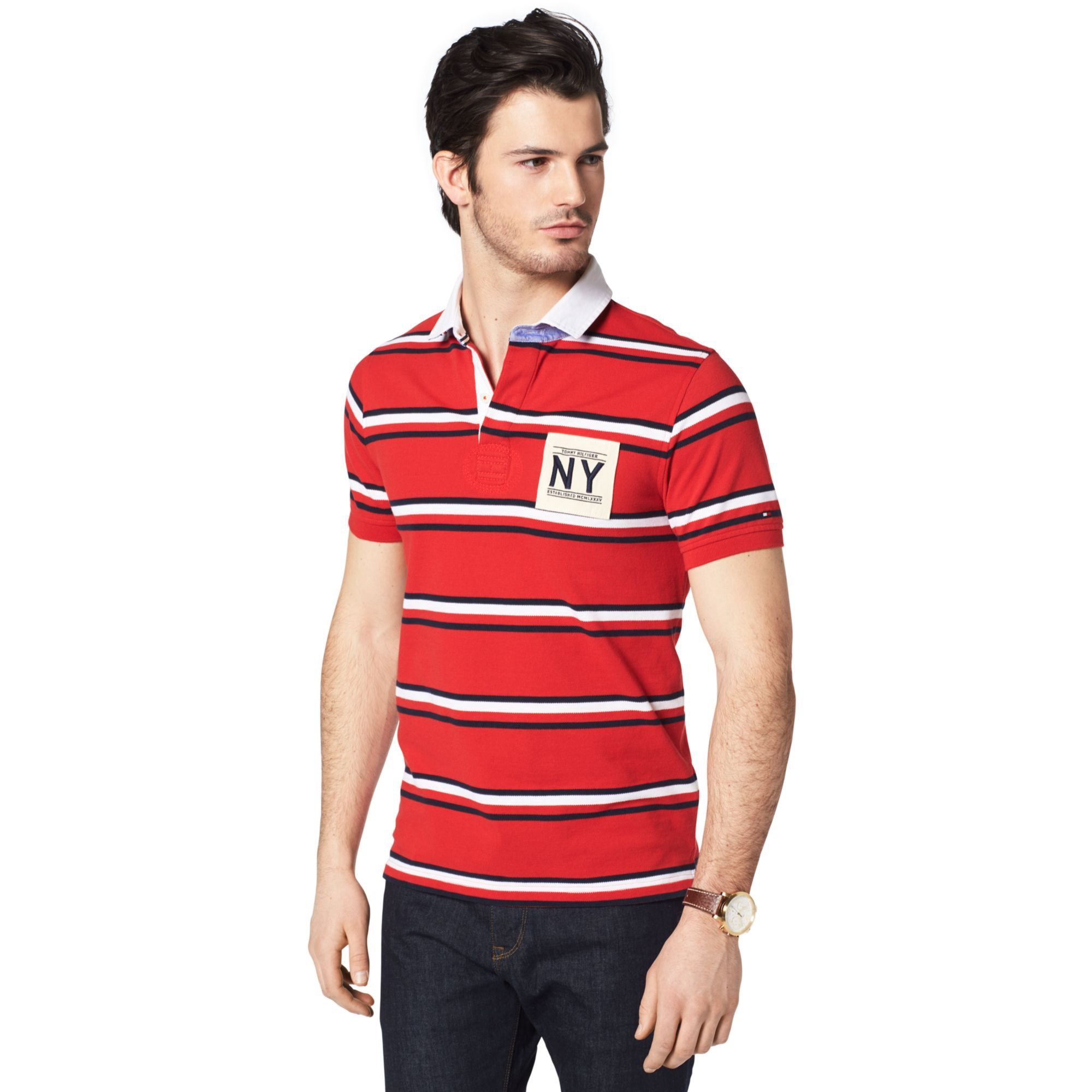 TOMMY HILFIGER SLIM FIT NY STRIPE POLO - MARS RED/ MIDNIGHT / CLASSIC WHITE. #tommyhilfiger #cloth #
