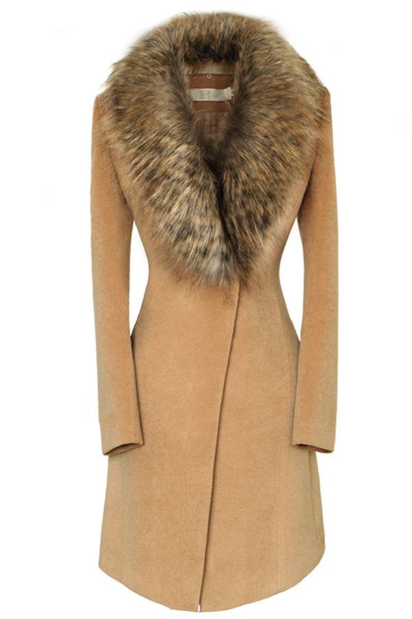 0ec82815c0e Oversize Faux Fur Collar Slim Coat OASAP.com