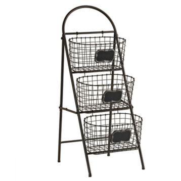 Black 3 Tier Chalkboard Storage Basket Tower