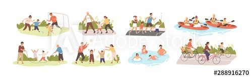 Family activities flat vector illustrations set. Happy childhood, active recreation. Happy parents and children cartoon characters pack. Outdoor games, football, roller skating, jogging and cycling. - Buy this stock vector and explore similar vectors at Adobe Stock