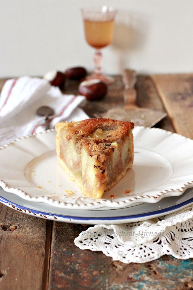 Tarte fondante à la crème de marrons, rhubarbe et pommes épicées