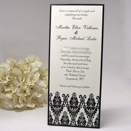 Black And Cream Damask Tea Length Wedding Invitation From Mybluetulipdesign
