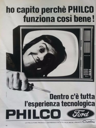 Pubblicita-d-039-epoca-Old-advertising-PHILCO-FORD-tv-televisore-vintage-vecchia