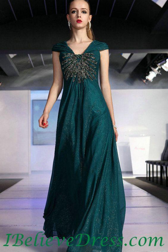 Chiffon Cap Sleeves Maternity Evening Dress Green For Sale,Chiffon ...