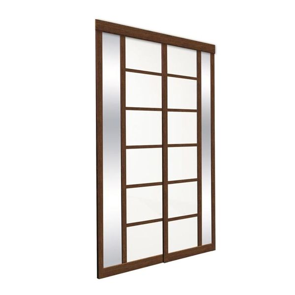 Shop Unbranded Pecan Colored Glass Sliding Closet Door At Lowes