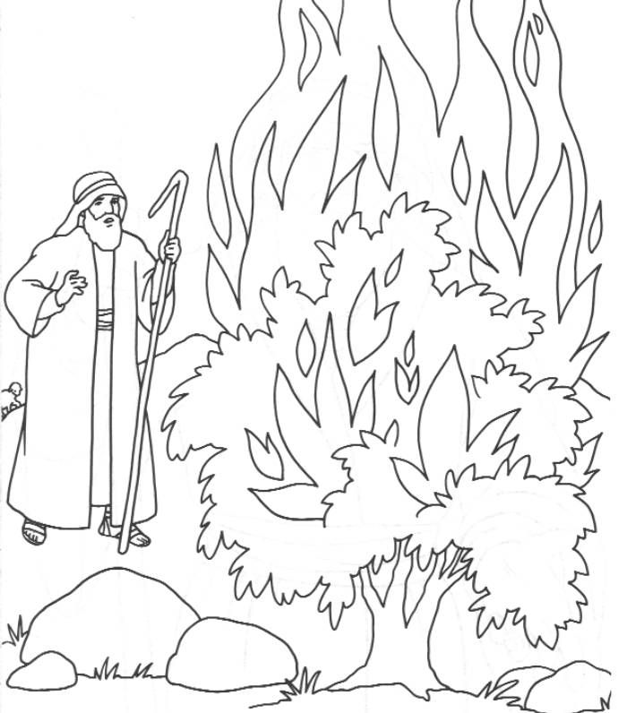 Moses And The Burning Bush Craft Have Kids Color Then Glue Orange And Yellow Tissue Paper To Sunday School Coloring Pages Bible Coloring Pages Bible Coloring