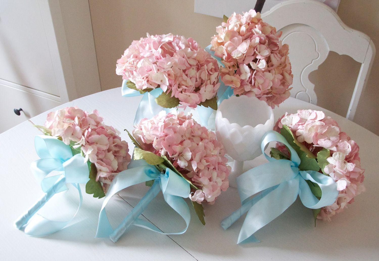 Southern pink paper hydrangea bridemaids bouquet with aqua ribbon vintage pink paper hydrangea bridemaids bouquet with aqua ribbon details lots of flower ideas mightylinksfo Gallery