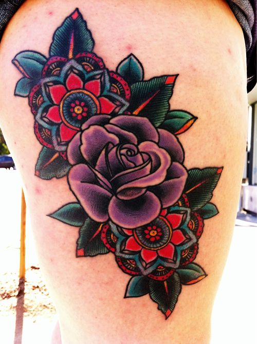 Don T Love The Style Or Colors But The Heavy Saturation Could Be Good For Traditional Rose Tattoos Trendy Tattoos Traditional Tattoo Flowers