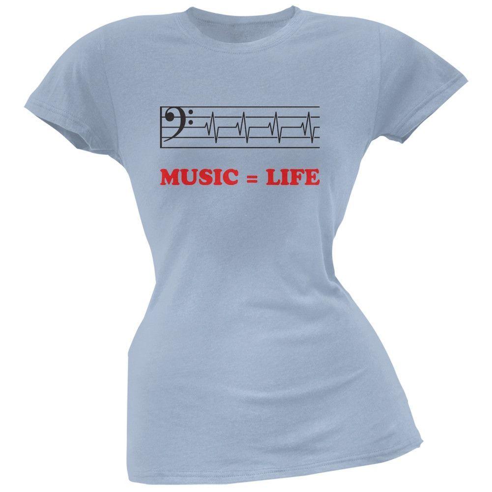 Music=Life Bass Clef Light Blue Soft Juniors T-Shirt
