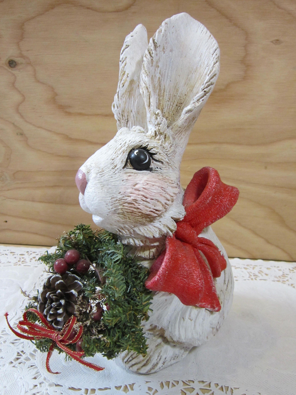 large vintage sitting rabbit figurine christmas decor realistic