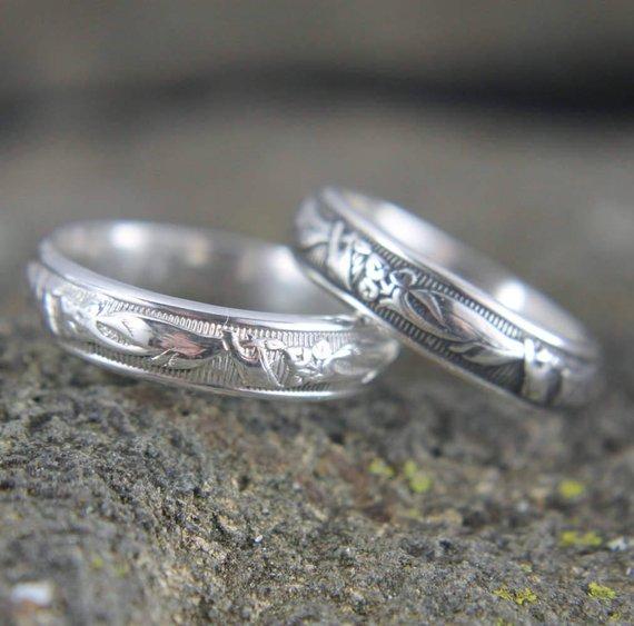 Sterling Silver Wedding Band Embossed Art Nouveau Pattern Design