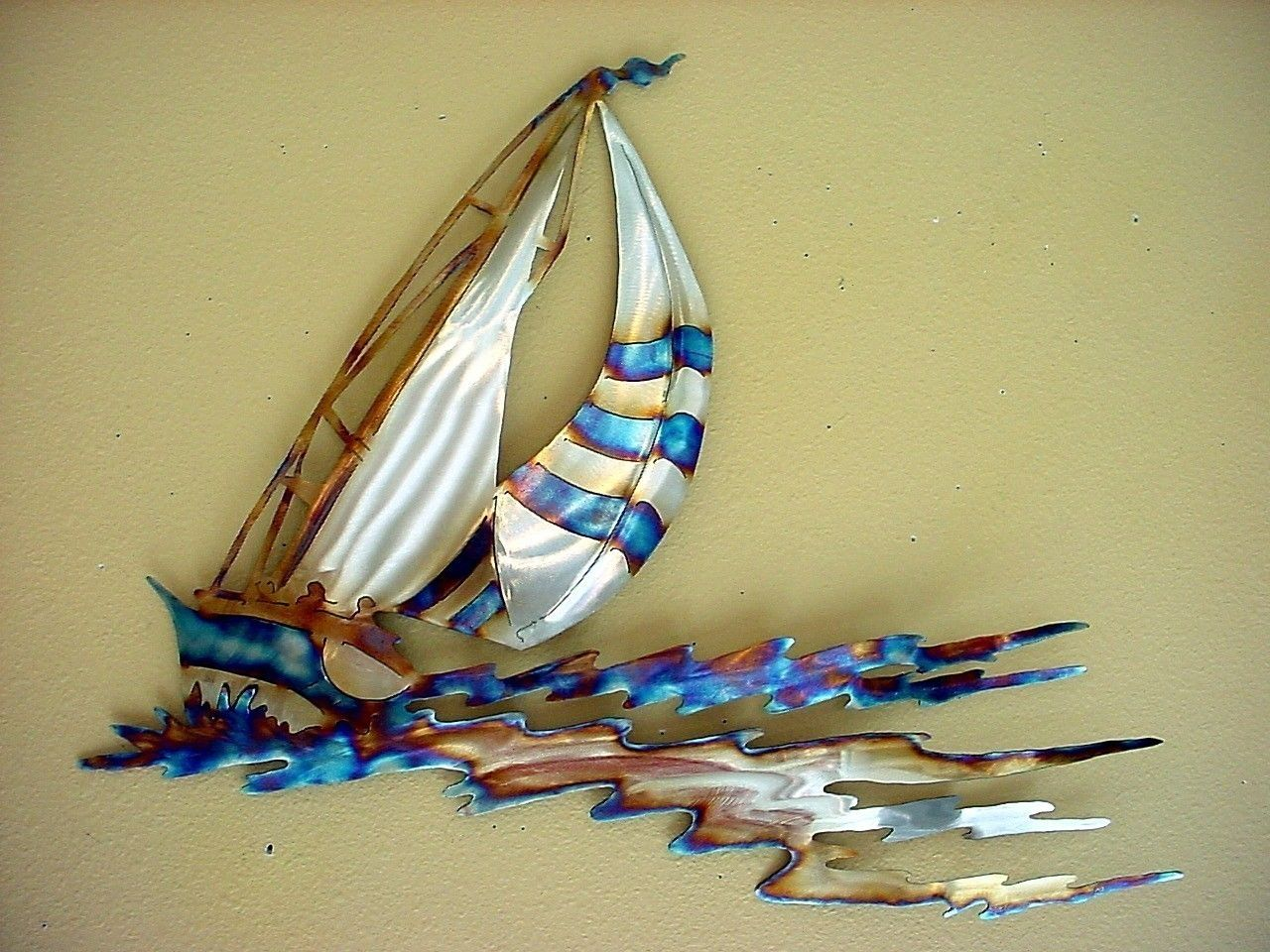 Sailboat Racing Sailor Sailing Stainless Steel Metal Wall Art Open