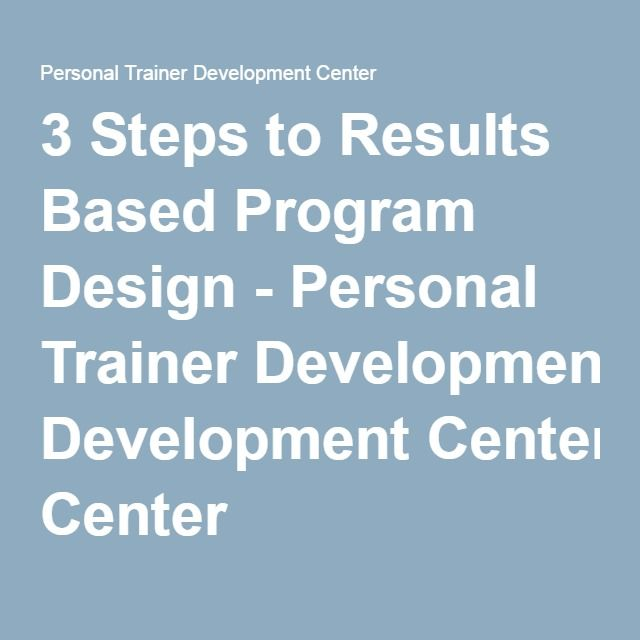 3 Steps to Results Based Program Design - Personal Trainer ...