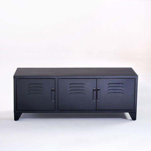 Meuble TV style indus, 3 portes, noir mat, Hiba Salons and Bedrooms