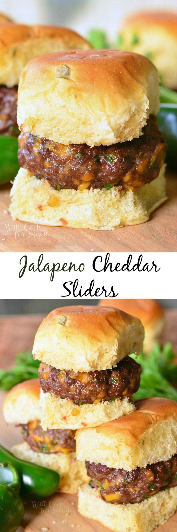 Jalapeno Cheddar Sliders. DELICIOUS little cheeseburgers ...