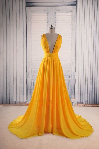 yellow Prom Dresses,V-neck prom dress,cheap prom Dress,party prom ...