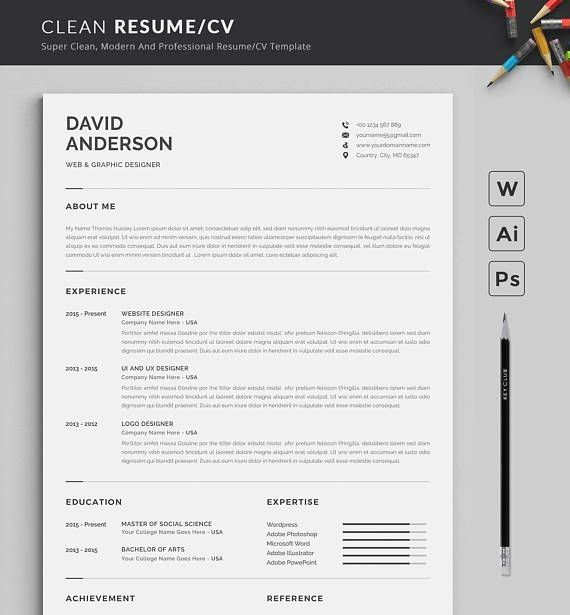 Resume Template Modern Professional Resume Template For Word Cv Resume Cover Letter Cv Lettre De Motivation Modele De Cv Professionnel Cv Professionnel