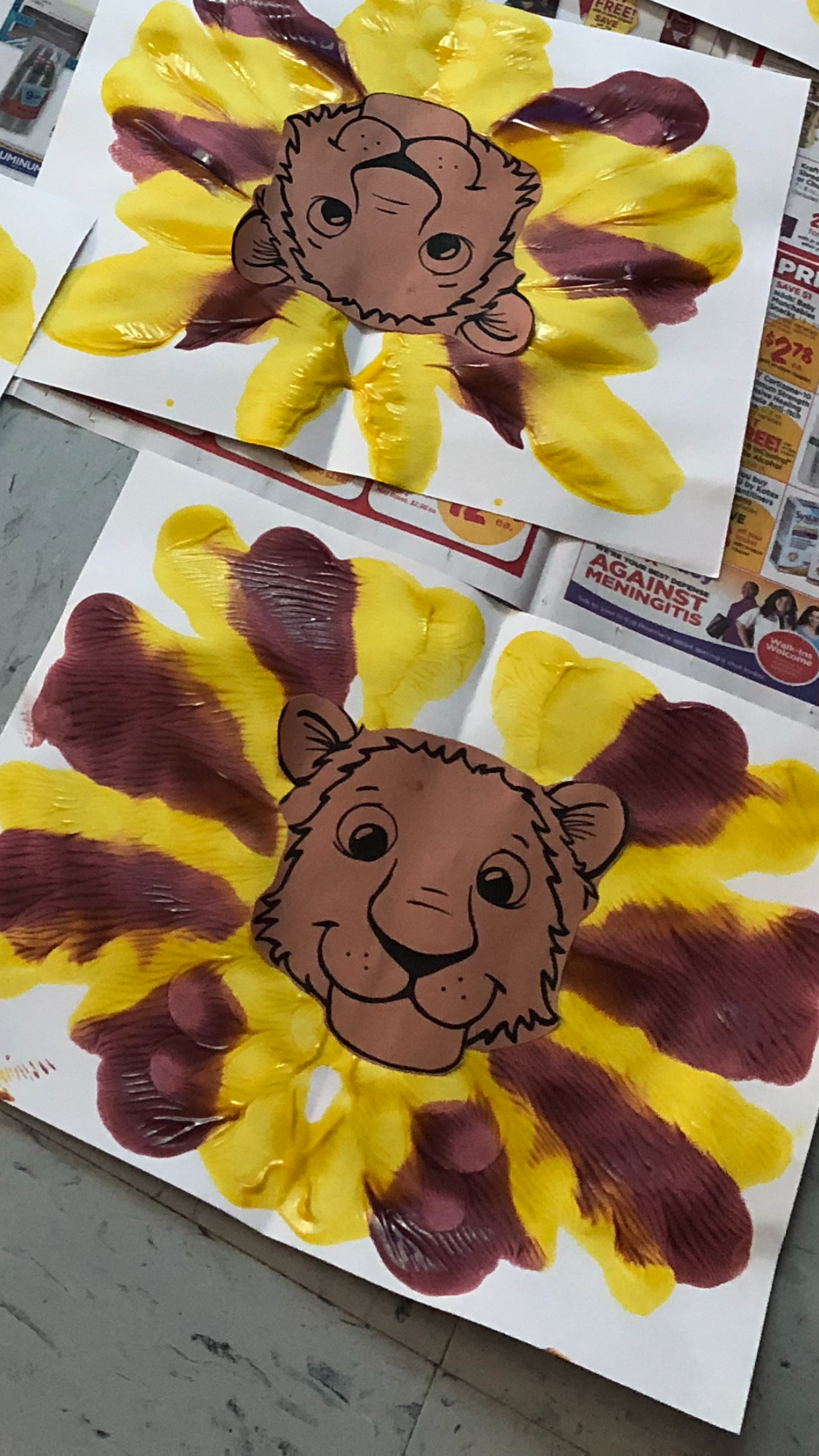 Lion Art Mirror Image Mane Preschoolers