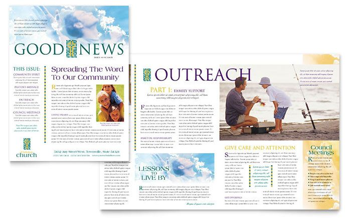 Christian Church Newsletter Template Design By Stocklayouts