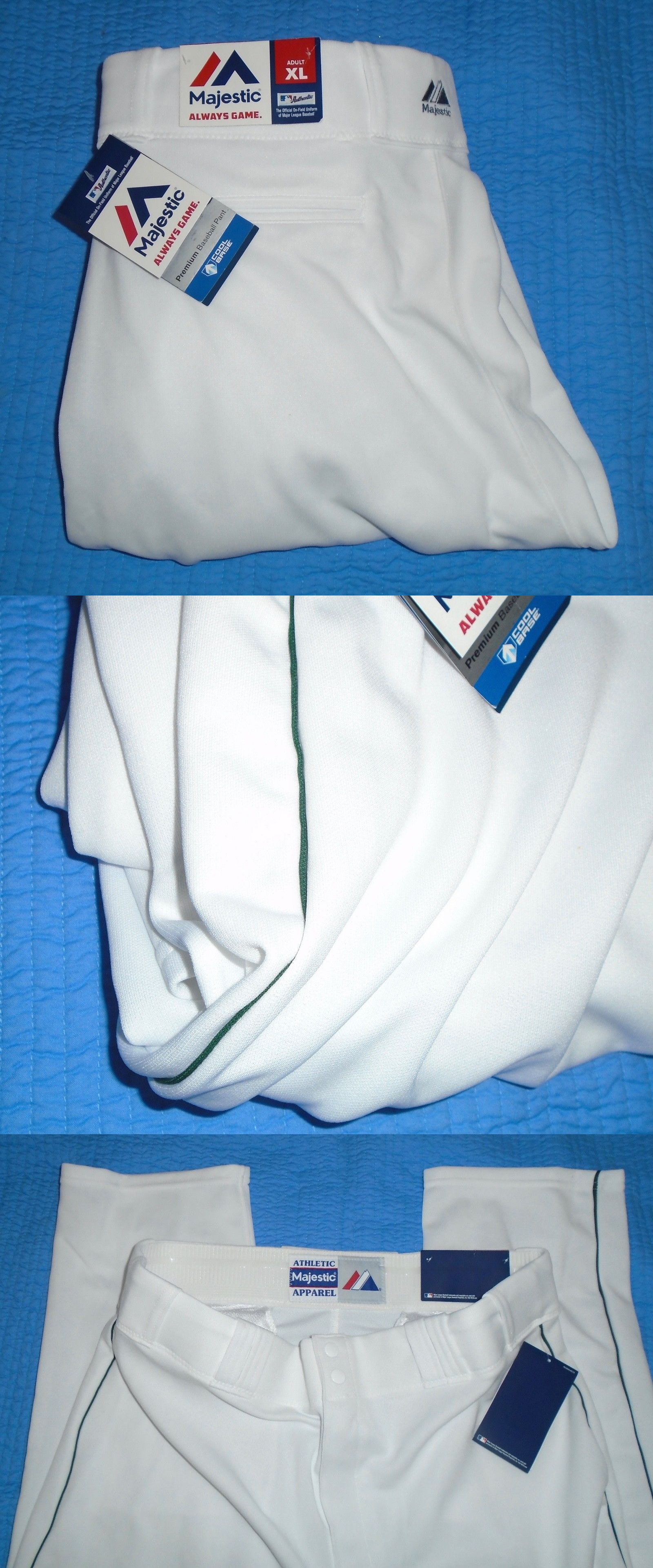 e417b8b7a Baseball Pants 181337  Majestic Mlb New Adult Size Xl Cool Base Baseball  Pants White Green