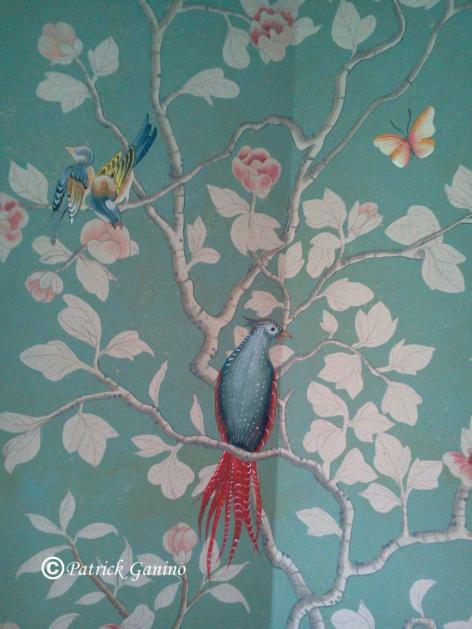 chinoiserie wallpaper detail wallpapers pinterest hand painted chinoiserie mural in greenwich ct adds the finishing touches to this master bedroom chinoiserie murals contain layers of detail