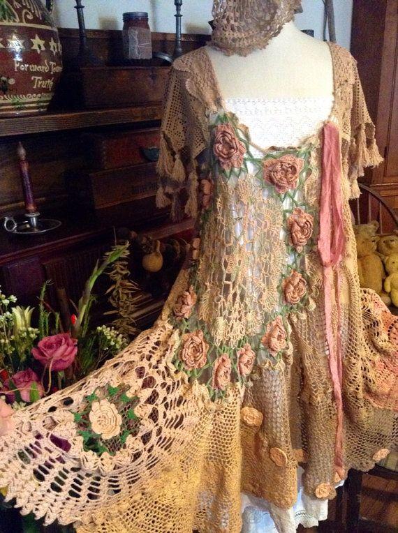 Luv Lucy gypsy crochet dress bohemian love by LuvLucyArtToWear, $275.00