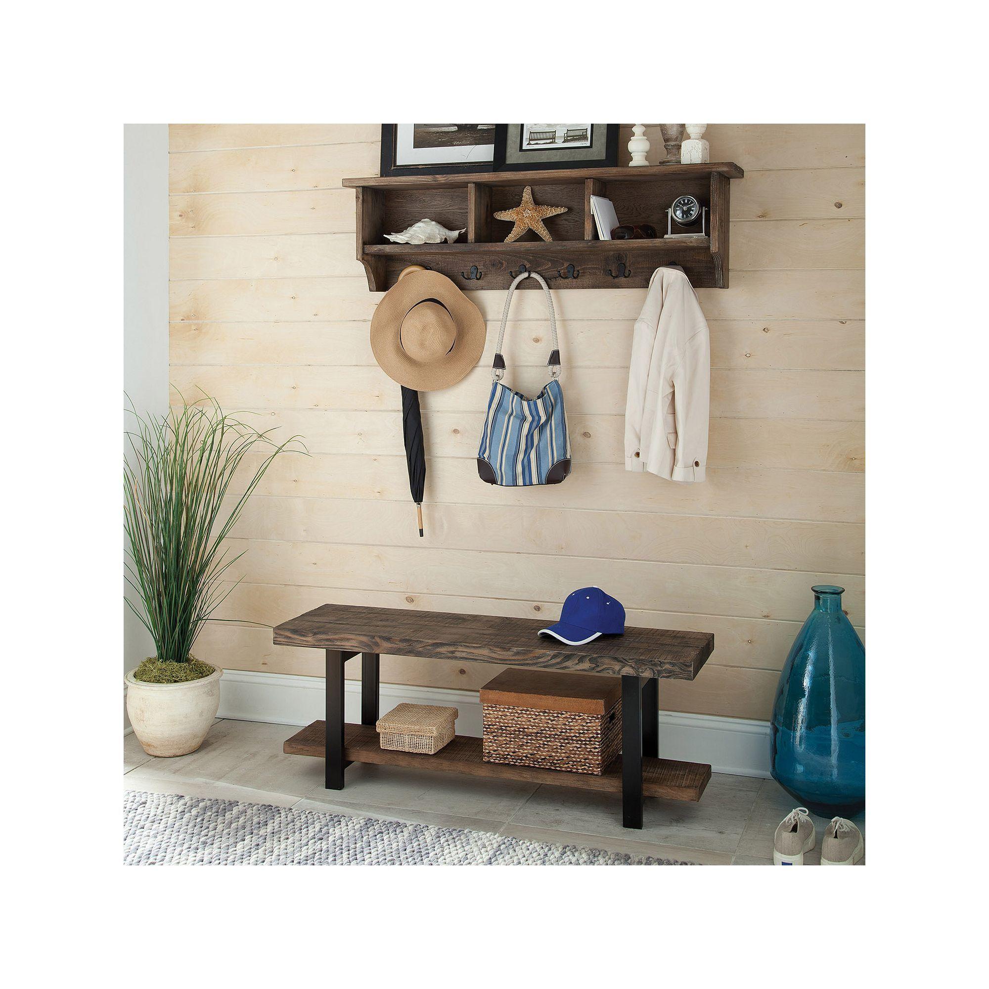 Alaterre Pomona Wood Bench & Coat Hook Cubby Wall Shelf 2-piece Set ...