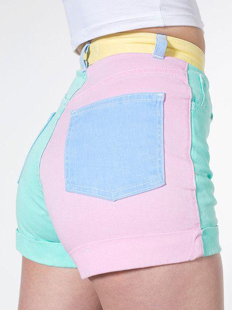 3ac0ff6fc2 American Apparel - Color Block Stretch Bull Denim High-Waist Cuff Short