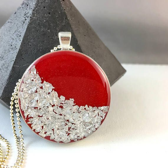 Large long pendant red resin with silver leaf metallic pendant
