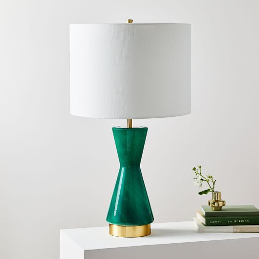 Metalized Glass Table Lamp Usb Small Green Bedroom