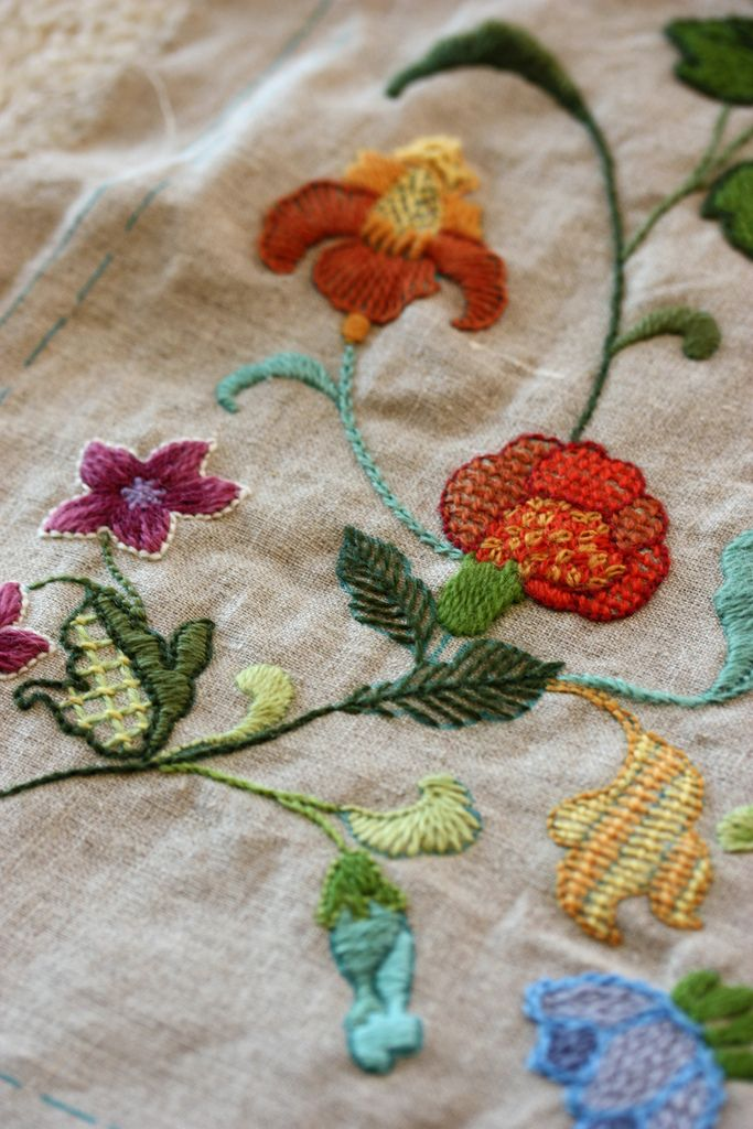 Crewel Embroidery Pillow Pinterest Crewel Embroidery Embroidery