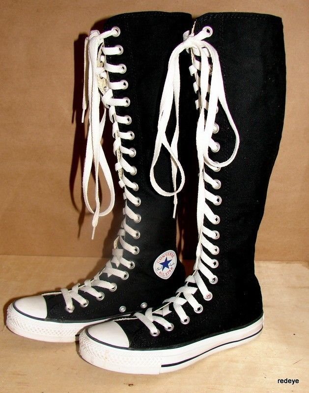 c2e7fc6a2060 CHUCK TAYLOR ~ BLACK KNEE HIGH CONVERSE SHOES womens size 5