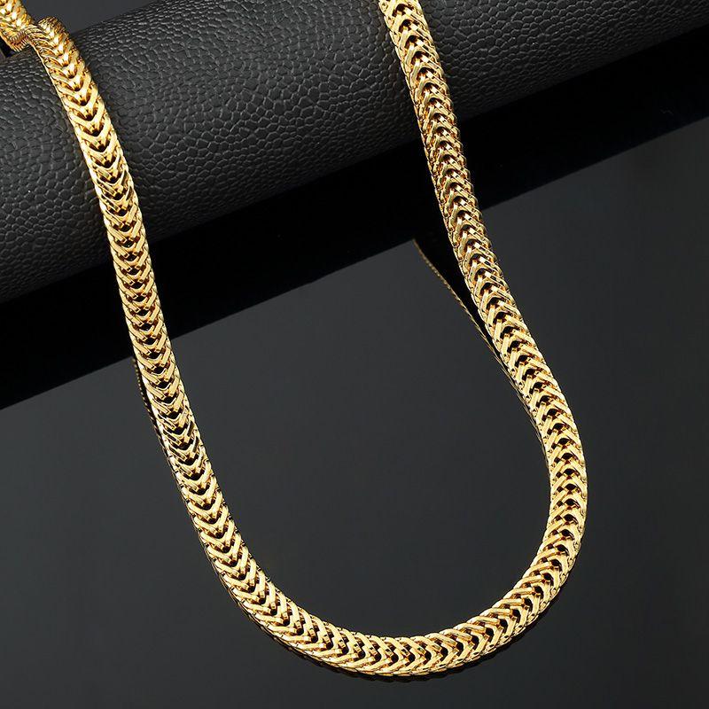 Hip Hop Golden Necklace Fashion Wheat Gold Chains Necklaces Men
