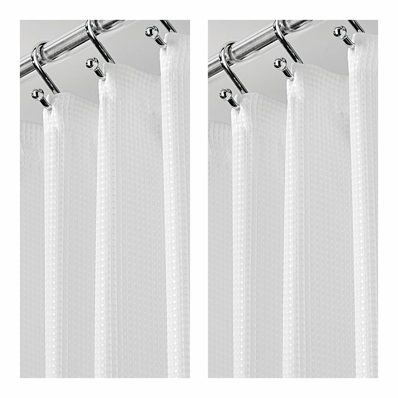 X Wide Waffle Weave Fabric Shower Curtain 108 X 72 White In
