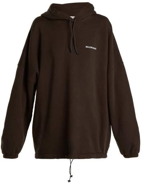 62d57c0f9ff6 Balenciaga - Oversized Logo Embroidered Sweatshirt - Womens - Black ...
