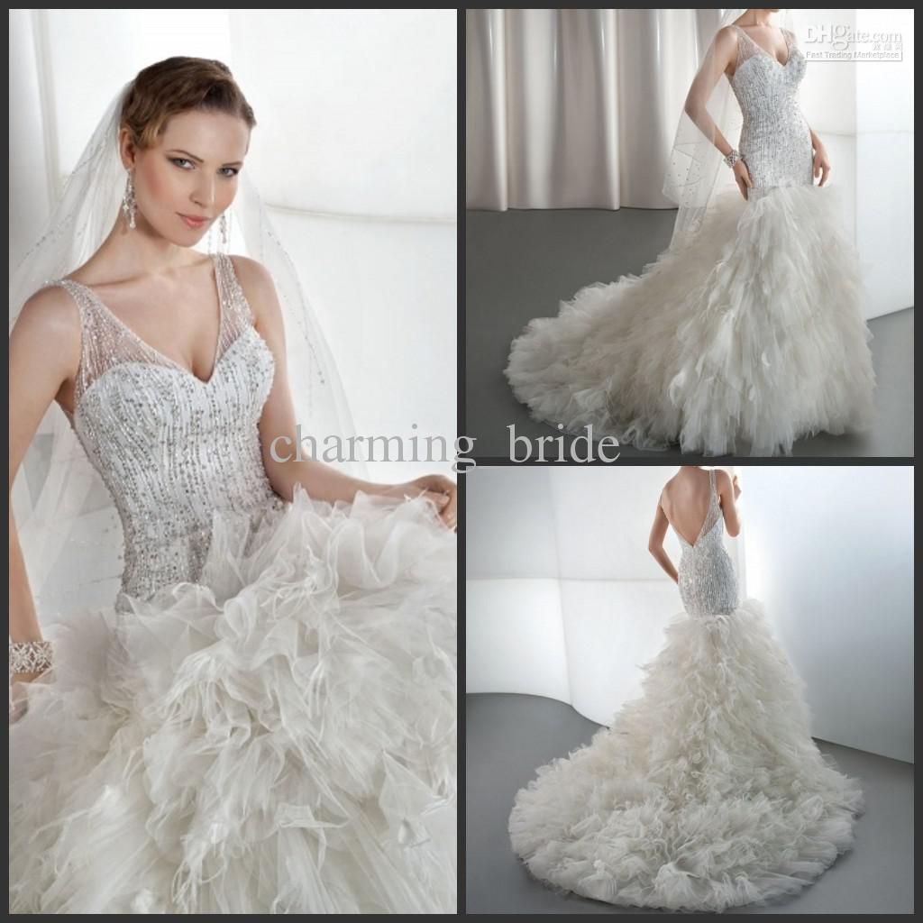 2013 sexy luxury mermaid v neck feather wedding dresses ruffles beaded wedding gown demetrios 537