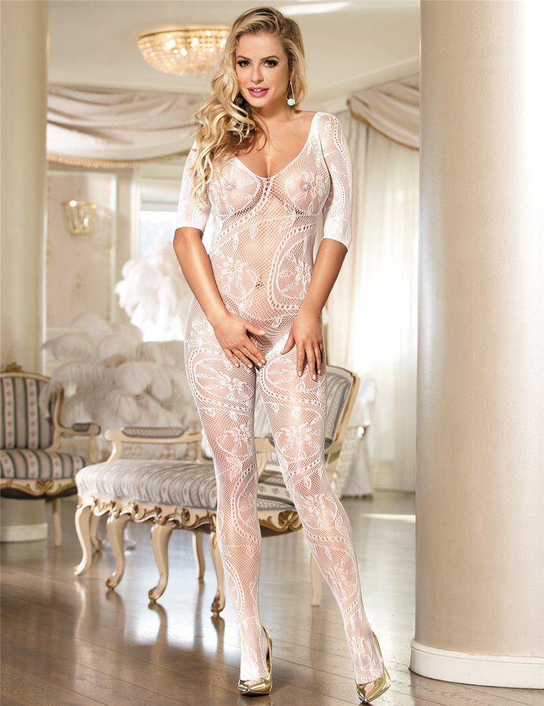 e43fefae796 White Fishnet And Floral Lace Sleeved Lingerie Bodystockings in 2019 ...
