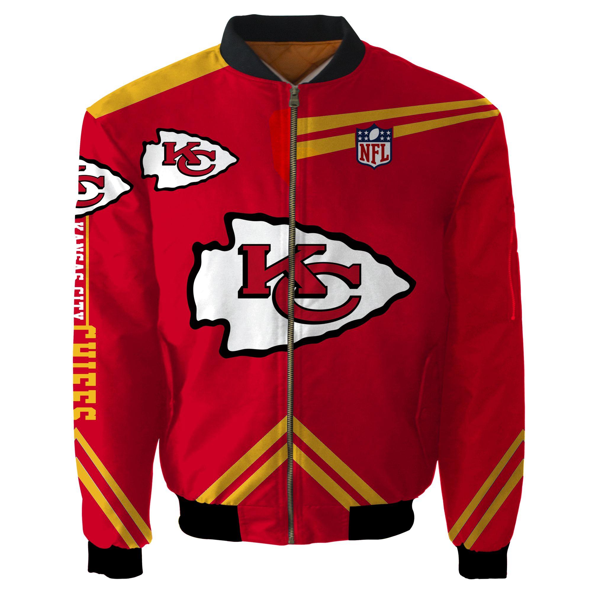 Kansas City Chiefs Bomber Jacket Men Women CottonPadded